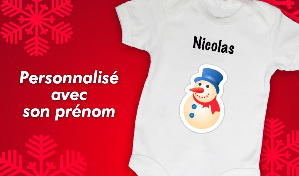 15650a03f2deb Baby Noa - Spécial Noël - Body bébé Noël - Bonhomme de Neige